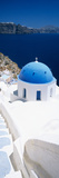 High Angle View of a Church with Blue Dome  Oia  Santorini  Cyclades Islands  Greece