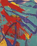 Abstract Painting  c 1982 (Aqua  Red  Indigo  Yellow)