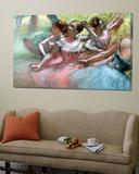 Four Ballerinas on the Stage Toile Murale Géante par Edgar Degas