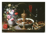 Table with Pitcher and Dish of Dried Fruit  1611