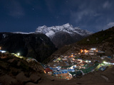 Spectacular Namche Bazaar in the Everest Region Lit-Up at Night