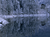 Hotel and Snow-Blanketed Trees on the Shore of Lake Eib