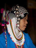 An Akha Woman Wearing Traditional Dress