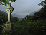 A Large High Cross in the Cemetery in Glendalough
