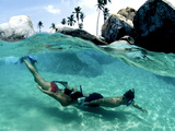 Two Snorkelers Explore the Baths in Virgin Gorda