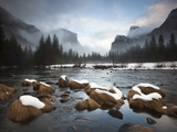 El Capitan and Cathedral Rocks Rise Above the Merced River
