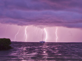 Lightning Bolts Striking the Ocean  and Almost Hitting a Sailboat