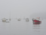 Boats in Rockport Harbor Shrouded in Fog