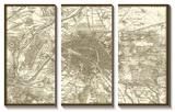 Sepia Map of Paris Tableau multi toiles
