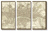 Sepia Map of London Tableau multi toiles
