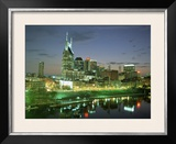 City Skyline and Cumberland River at Dusk  Riverfront Park  Nashville  Tennessee  USA