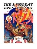 """Fantasy Honeymoon "" Saturday Evening Post Cover  June 20  1936"