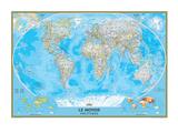 Planisphère française classique Reproduction d'art par National Geographic Maps