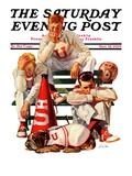 """Cheerleaders after Lost Game "" Saturday Evening Post Cover  November 18  1939"