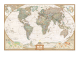 Carte du monde haut de gamme Reproduction d'art par National Geographic Maps