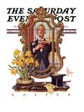 """Primping in Mirror "" Saturday Evening Post Cover  April 11  1936"