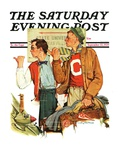 """Hitchhiking to State U "" Saturday Evening Post Cover  September 23  1939"