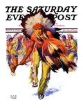 """Dancing Warrior "" Saturday Evening Post Cover  April 4  1936"