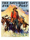 """""""Miner and Donkeys """" Saturday Evening Post Cover  May 27  1933"""