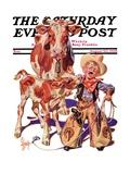 """Little Cowboy Takes a Licking,"" Saturday Evening Post Cover, August 20, 1938 Giclée par Joseph Christian Leyendecker"