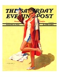 """""""Woman in Beach Outfit """" Saturday Evening Post Cover  August 11  1934"""