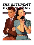 """Phone Call from Another Suitor "" Saturday Evening Post Cover  May 27  1939"