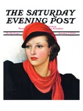 """Portrait in Black and Red "" Saturday Evening Post Cover  January 7  1939"