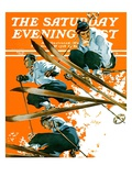 """Ski Jumpers "" Saturday Evening Post Cover  February 26  1938"