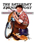"""Decorating His Bike "" Saturday Evening Post Cover  March 20  1937"