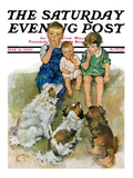 """""""Doggie Beggars """" Saturday Evening Post Cover  May 31  1930"""