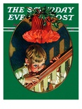 """Christmas Peek "" Saturday Evening Post Cover  December 23  1939"
