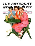 """Girls Sipping Sodas "" Saturday Evening Post Cover  September 21  1935"