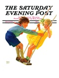 """Children on Swing "" Saturday Evening Post Cover  June 22  1935"