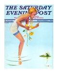 """""""Girl and Water Lilies,"""" Saturday Evening Post Cover, September 7, 1935 Giclée par Penrhyn Stanlaws"""