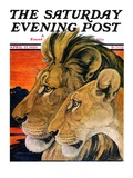 """Lion Pair "" Saturday Evening Post Cover  April 27  1929"