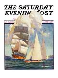 """Ship and Sailboats "" Saturday Evening Post Cover  July 16  1932"