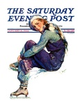 """Woman Skater "" Saturday Evening Post Cover  January 21  1933"