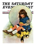 """""""Baby Chicks """" Saturday Evening Post Cover  May 7  1932"""