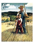 """Father and Son on Hay Wagon "" Country Gentleman Cover  June 1  1944"