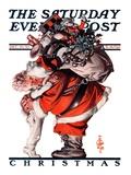 """""""Hug from Santa """" Saturday Evening Post Cover  December 26  1925"""