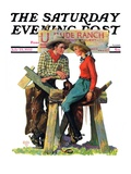"""""""Dude Ranchers """" Saturday Evening Post Cover  July 23  1932"""