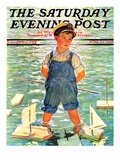 """Toy Sailboats "" Saturday Evening Post Cover  June 24  1933"