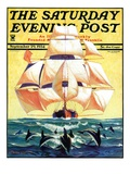 """""""Dolphins and Ship """" Saturday Evening Post Cover  September 29  1934"""
