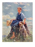 """Boy and Dog in Nature ""June 11  1932"