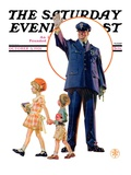 """Policeman and School Children "" Saturday Evening Post Cover  October 3  1931"