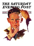 """Combing His Hair "" Saturday Evening Post Cover  July 9  1938"