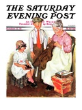 """Mending His Jacket "" Saturday Evening Post Cover  October 17  1931"