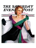 """Evening Gown "" Saturday Evening Post Cover  May 21  1938"