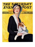 """Woman and Airedale "" Saturday Evening Post Cover  May 13  1933"