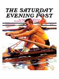 """""""Sculling Race """" Saturday Evening Post Cover  August 15  1936"""